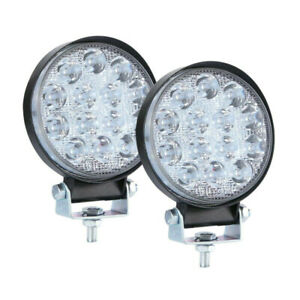 2pcs Led Work Light Spot Lights For Truck Off Road Tractor Atv Round 42w Aa