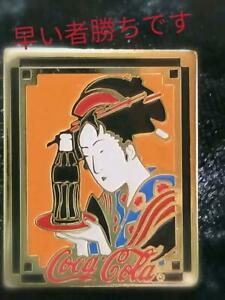 Coke ON Coca Cola pin Badge Design Ukiyoe Old Japanese Picture Rare vintage Used