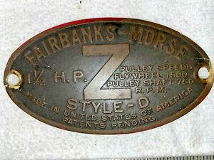 1 1 2 Hp Brass Tag Fairbanks Morse zd Hit Miss Engine Tractor Auto Antique