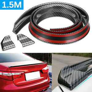 1 5m Flexible Car Rear Wing Lip Spoiler Tail Trunk Boot Roof Trim Universal 5ft