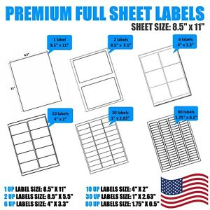 8 5x11 Full Sheet Shipping Address Labels Self Adhesive For Laser Inkjet Printer