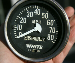 White Truck Stewart Warner 3 3 8 Mechanical 80 Mph Vintage Speedometer