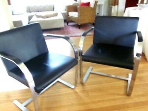 Mies Van Der Rohe Brno Style Chairs Pair Of Vintage Reproductions Black