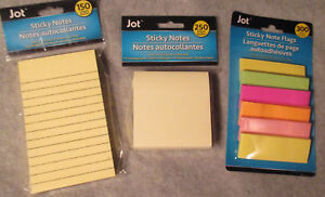 Lot Of 3 Sticky Notes 300 Flags 250 3x3 Square 150 3x5 Lined Yellow New