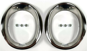Pair Stainless Steel Exhaust Trim Rings Moldings For 1965 1966 Ford Mustang Gt