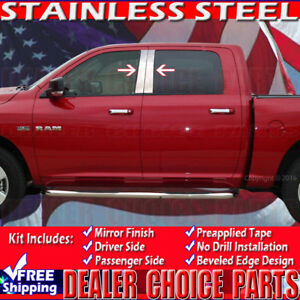 For 2009 2018 Ram Crew Extended Cab 4pc Stainless Steel Pillar Posts Trims