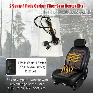 2 Seats W switch Seat Heater Carbon Fiber 4 Pads Heated Seat Kit Fit All 12v Car