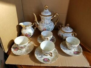 Vtg Arnart Ykt 11pc Tea Set With Demitasse Tea Cups Creamer Sugar