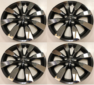 Set Of 4 Wheel Covers Hubcaps Fit 2014 2016 Toyota Corolla 16 Chrome Black