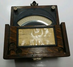 Weston Dc Voltmeter Model 45 In Solid Oak Case
