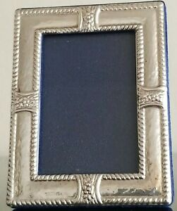 Vtg Sterling Silver 925 Mini Picture Frame Flower Accents Rope Trimmed 3 25