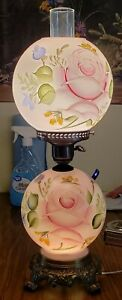 Antique 21 5 Hurricane Gone With The Wind Pink Floral Glass Table Lamp