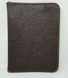 Vtg Genuine Leather Brown Pebble Zippered 3 ring Binder Portfolio Notebook 14x10