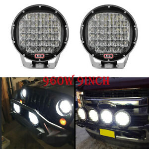 2x 9inch 980w Round Led Work Light Spot Driving Lamp Headlight Offroad Atv Truck