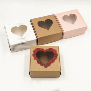 Heart Hollow Kraft Paper Boxes Wedding Party Gifts Jewelry Storage Packing Boxes