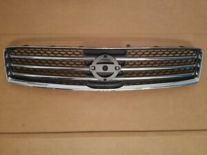 Fits 2009 2014 Nissan Maxima Front Bumper Upper Grille Black Chrome New