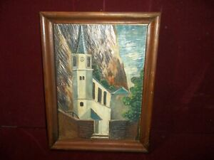 Vintage German Hand Carved Wooden Cathedral Relief Picture Germany Black Forest