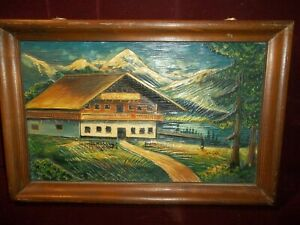 Vintage German Hand Carved Wooden Chalet Relief Picture Germany Black Forest