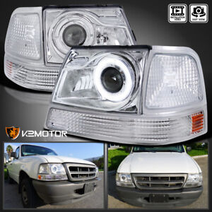 For 1998 2000 Ford Ranger Clear Halo Projector Headlights corner Signal Lamps