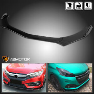 Universal Gloss Black Front Bumper Lip Spoiler Splitter Body Kit 3pc Free Ship