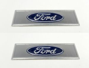 Pair Blue Oval Sill Plate Emblems Decals For 1964 1973 Ford Mustang