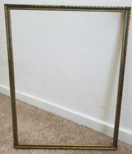 Vintage 1920s 12 X 16 Blue And Gold Wood Picture Frame