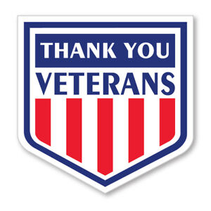 3 X 3 thank You Veterans Shield Shaped Label With Stars And Stripes Design