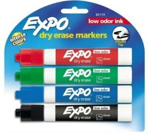 Expo Chisel Tip Low Odor Dry Erase Markers 4 Colors 80174