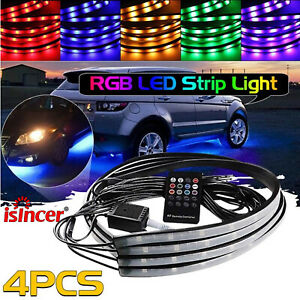 4pcs 8 Color Rgb Led Car Suv Tube Strip Underglow Underbody System Neon Lights
