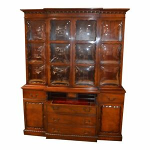 Vintage Two Piece Mahogany Regency Style China Cabinet W Bubble Glass