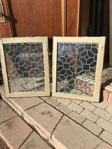 Sg 3210 Pair Antique Leaded Glass Fire Side Windows 22 5 X 29