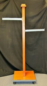 Cherry Wood Clothing Display Rack 2 Straight Arm used