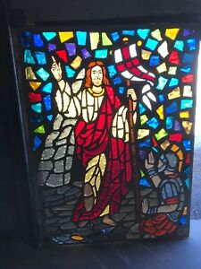 Mc 10 Antique Chunk Stained Glass Window Jesus With Soldier 44 X 59