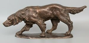 Large Antique 24 French Bronze Sporting Dog Sculpture