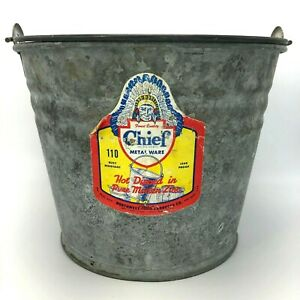 Indian Chief Label Galvanized Metal Bucket Vintage Pail With Handle Made In Usa