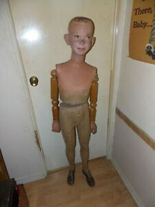 Vintage 20 s 30 s Mannequin Articulated Wood Jointed Arms Young Boy Life Size