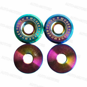 Jdm Mugen Power Neo Chrome License Plate Frame Bolts Screws Fasteners 2pcs