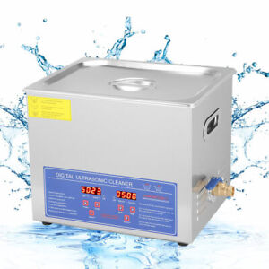 10 L Digital Cleaning Machine Ultrasonic Heated Cleaner Bath Tank Timer Industry