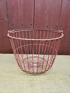Primitive Red Farm House Egg Gathering Basket Metal Wire Large Size Farm Chicken