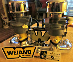 Chevy 235 Weiand Dual Carb Intake Manifold Polished Assembly