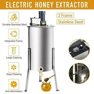 2 4 Frame Electric Honey Extractor Bee Honey Extraction Separator Drum W Stand