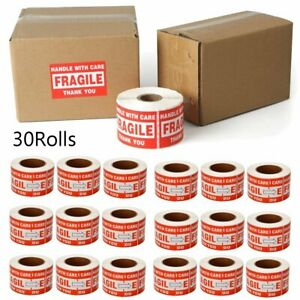 15000 Fragile Stickers 3x5 Handle With Care Thank You Red Warning Labels 30 Roll