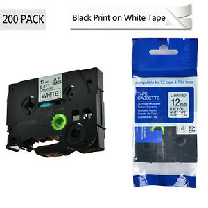 200pk Tze231 Tz231 Black On White Label Tape Ribbon For Brother P touch 1 2