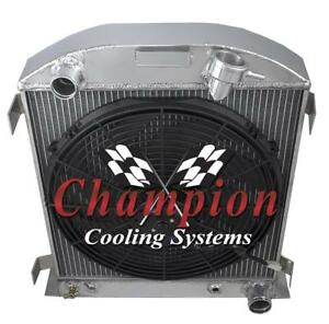 2 Row 1 Sr Champion Radiator 16 Fan For 1932 Ford Chopped Chevy mopar Config
