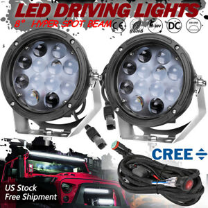7 Cree Round Led Driving Spot Lights Heavy Duty Headlight Off Road Wiring Kit