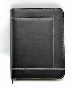 Ecco Black Faux Leather Letter Sized Notepad Zipper Portfolio Document Organizer