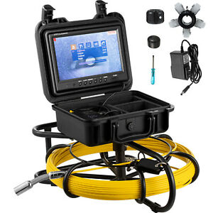 100ft Pipe Inspection Camera Hd 1200 Tvl Drain Sewer Camera 9 Lcd Monitor