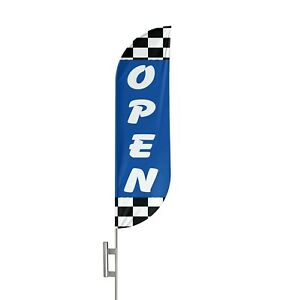 Open For Business Swooper Flag Pole Kit Ground Spike 15 Open Feather Tall