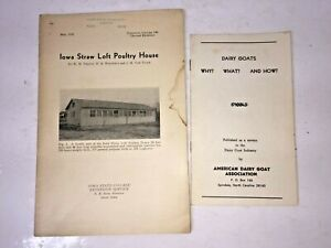 Vintage 1936 Iowa Straw Loft Poultry House 1953 Dairy Goats Pamphlets Booklet