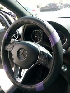 Limited Edition Black Purple Pu Leather Steering Wheel Cover Lady First Choice